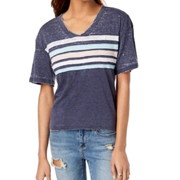 67745495 Ultra Flirt Top Juniors Striped Football T-Shirt NWT